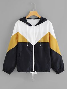 To find out about the Color Block Drawstring Hem Hooded Jacket at SHEIN, part of our latest Jackets ready to shop online today! Plus Size Street Style, Coats For Women, Jackets For Women, Women's Jackets, Hooded Bomber Jacket, Casual Outfits, Fashion Outfits, Sporty Fashion, Ski Fashion
