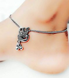 Look at our Anklets - Women typically from wonderful range at Bijou. Payal Designs Silver, Silver Anklets Designs, Anklet Designs, Gold Wedding Jewelry, Silver Jewelry Box, Silver Jewellery Indian, Silver Ring, Silver Earrings, Bohemian Jewellery