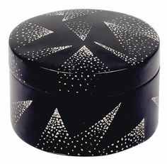 Jean Dunand, Art Deco covered box, Paris ca. 1925, black lacquer work with inlaid eggshell décor on metal, cylindrical round form, marked on underside, height 4.5 cm, dm. 6.4 cm