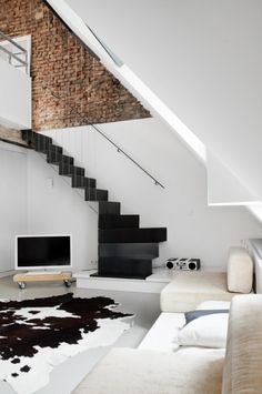 minimal black and white interior
