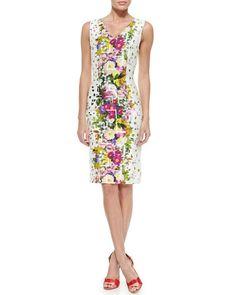 B2W23 Carolina Herrera Floral Confetti-Print Sheath Dress
