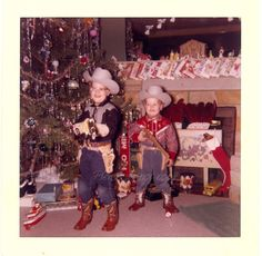 Vintage Photo   Christmas Morning Cowboys with toys by photopicker