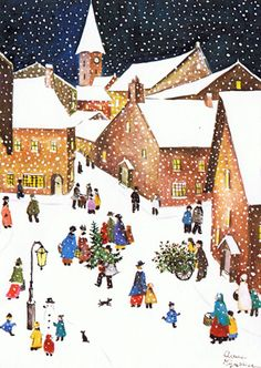 Christmas snowy village