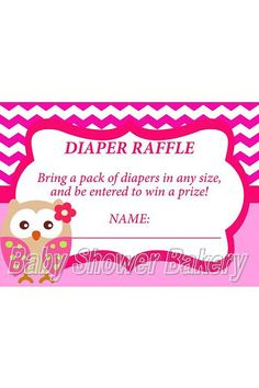 Owl Diaper Raffle Ticket, Instant Download Owl Baby Shower Game, Baby Shower Raffle, Printable Diaper Raffle for Girl, INSTANT DOWNLOAD on Etsy, $5.00