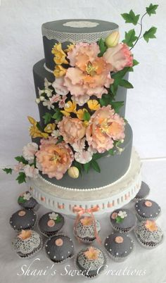 Gorgeous! ~ Gray and Peach Sugar Garden Wedding Cake ~ with matching cupcakes with sugar flowers and sugar veil lace.