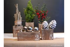 {barnwood boxes from chalkboard blue}