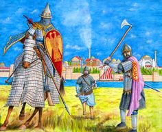 Byzantine Warriors from the Eleventh to Twelth centuries Medieval World, Medieval Armor, Military Art, Military History, Byzantine Army, Abbasid Caliphate, Roman Warriors, Empire Romain, Armada
