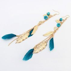 Summer Style Vintage Feather Dangle Earrings