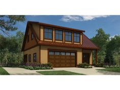 very uniquely laid out 3 car garage plan with separate 1 bedroom apartment above with separate entrance and separate 1 car garage. plan number HWEPL76822