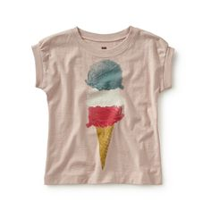 "Tea SS16 Tre Gusti Graphic Tee in peach blush - Tre gusti means ""three flavours"" in Italian. This flavorful photorealistic print is inspired by the tasty treats served in Italian gelaterias. - $22.50"