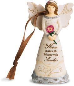 "Niece by Elements - 4.5"" Angel Holding Flower Ornament"