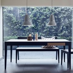 The Anglepoise Original 1227 Maxi pendant light, available in Jet Black, Linen White and Dove Grey will make a strong visual impact in any interior space. Margaret Howell, Pendant Lamp, Pendant Lighting, Anglepoise, Work Lights, Desk Lamp, Dining Table, Dining Room, Table Bench