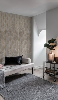 Art Deco Wallpaper, Room Wallpaper, Wallpaper Ideas, Shadow Play, Custom Wall, Beautiful Interiors, Wall Murals, Backdrops, Living Room