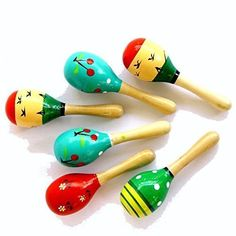 5 Inch Wooden Fiesta Maracas Assorted colors and designs Blue-B Mini Pack of 12