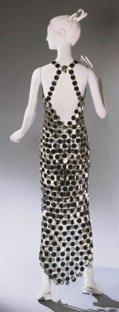 Woman's Dress Silver and Black Dress Designed by Paco Rabanne, French (born Spain), born 1934 Geography: Made in Paris, France, Europe Date: 1966 Medium: Rhodoid plastic and metal Accession Number: Balenciaga, Givenchy, Vintage Girls, Vintage Love, Vintage Outfits, Vintage Clothing, Vintage Dress, Vintage Fashion 1950s, 1960s Fashion