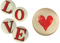 """A little John Derian love (5"""" round Red Letter plates and Heart Dome Paperweight)"""