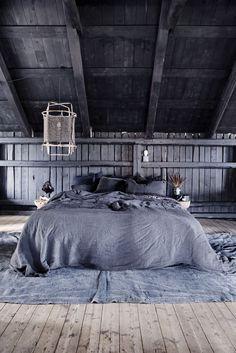 Rustic bedroom loft at the Milla-farm in Aurskog/ Norway. Home of interior stylist Camilla Berntsen.