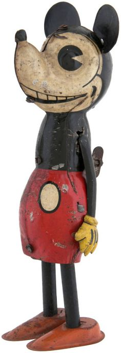 1930s Distler Mickey Mouse Walker toy. Wind up toy from Germany.
