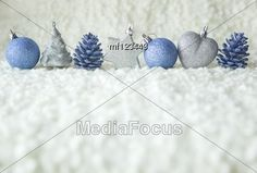 Row Of Silver And Blue #Christmas Decoration Elements #StockPhoto