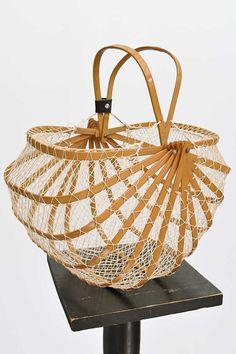 Vintage Folding Bamboo Lobster Net Shopping Basket