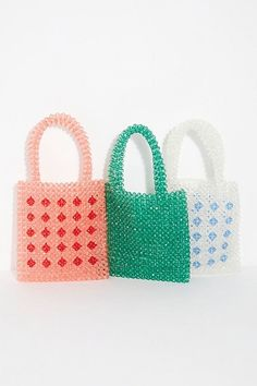 Hair Accessories Beaded Mini Tote - Multicolored Beaded Purses - Fun Purses - Statement mini tote bag featuring a multicolored, fully beaded design with top handles to carry. Handbags On Sale, Luxury Handbags, Purses And Handbags, Cheap Purses, Cute Purses, Beaded Purses, Beaded Bags, Bead Crochet, Handmade Bags