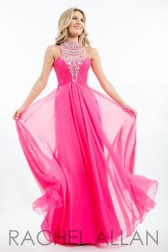 Chiffon A-line gown with ruched top and matte beading