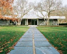 In 1952, a trio of modernist masterminds collaborated on a low-slung home in Columbus, Indiana, for the late industrialist J. Irwin Miller. Eero Saarinen designed the building, Alexander Girard coordinated the interiors, and Dan Kiley handled the landscape architecture. Open to the public since May 2011, the space is now owned and cared for by the Indianapolis Museum of Art. Photo by: Leslie Williamson