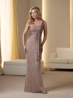A-line Silk Chiffon Ruched Bodice Ruched One-shoulder Strap Neckline Mother of the Bride Dress