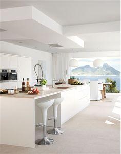 all white, minimal kitchen