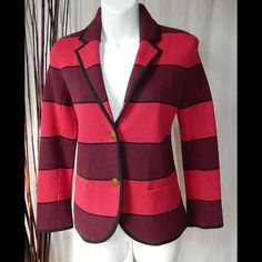 Ann Taylor Loft Cotton Colorblock Button Front Ann Taylor LOFT Cotton Variegated Colorblock Sweater Blazer, Red Carpet, MP, NWT Keep things interesting with an impossibly modern blazer that flaunts unique variegated stripes---the soft sweater feel will totally win you over. Notched lapel. Long sleeves. Two-button front. Front welt pockets. 100% Cotton. Shoulder to hem - 22, Sleeves - 22.  NWT's Ann Taylor Loft Jackets & Coats
