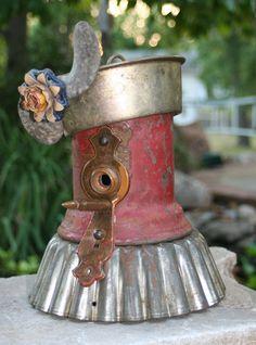 "Reclaimed Items, Found Objects, Handcrafted, Garden Art, Metal Birdhouse ""Little Miss Firecracker"""