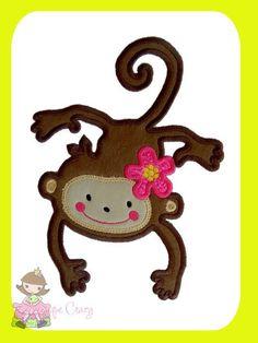 Flower Monkey Applique design от AppliqueCrazy на Etsy