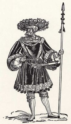 Title: Landsknechtführer              Tags: Waffenrock, Katzbalger, Spear, Kuhmaul shoes, Hat, Küse, Landsknecht, Neckchain, Stripes              Date: ca. 1532                        Artist: Erhard Schoen              Provenance: Germany              Collection: Kupferstichkabinett