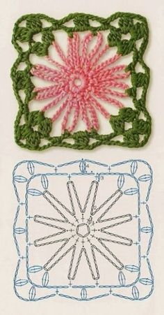 How to Crochet Flower, Make a Granny Square and Join Them - SalvabraniThis Pin was discovered by КотAchei na net Crochet Motifs, Crochet Blocks, Granny Square Crochet Pattern, Crochet Flower Patterns, Crochet Diagram, Crochet Chart, Crochet Squares, Crochet Doilies, Crochet Flowers