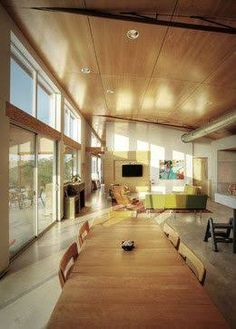 NowHouse - Industrial - Living Room - austin - by Domiteaux + Baggett Architects, PLLC French Industrial Decor, Industrial Interiors, Industrial House, Plywood Ceiling, Raked Ceiling, Plywood Panels, Floor Design, Ceiling Design, House Design