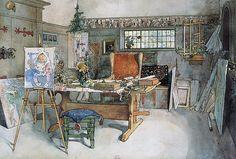 Carl Larsson — The Studio, 1895, Carl LarssonMedium: watercolor,...
