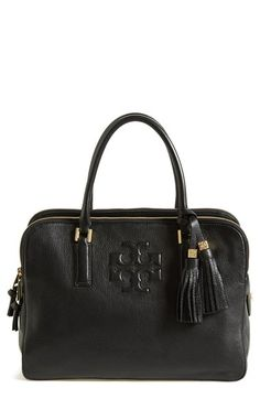 Free shipping and returns on Tory Burch 'Thea' Satchel at Nordstrom.com. A trio of zip compartments adds organizational ease to a refined, versatile satchel cast in richly pebbled leather and fronted with a quilted Tory Burch logo.
