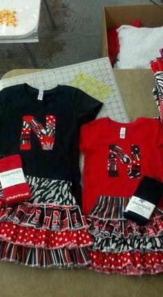 Nebraska Cornhusker tee and Ruffle skirt set. $42.00, via Etsy.