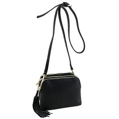 9a951015c0d30 Triple Compartment Mini Crossbody Bag with Tassel Black