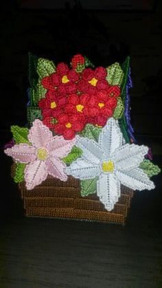Pot de fleurs plastic canvas 3ème côté