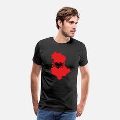Albania Flaggefür einen Albanien Fan Männer Premium T-Shirt T Shirt Designs, Pullover, Unisex, Atlantis, Shiva, Mantra, Chakra, Om, Mens Tops