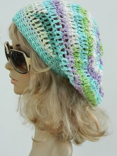 Multicolored Cotton Beanie Colorful Winter Slouchy by nattirootz, $27.00