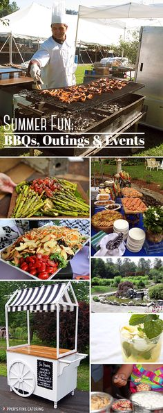 Summer Grill Party Fun #peppersfinecatering Grill Party, Food Stations, Retirement Parties, Party Fun, Social Events, Unique Recipes, Culinary Arts, Bat Mitzvah, Creative Food