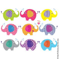 Elephant Clip Art Baby Shower Graphics Animals Clipart Cute
