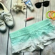 "O'Neill Crocheted Board Shorts. L. Ombre Green. O'Neill Board Shorts Crocheted  Ombre Green  Large. Lined. Floral print. Great conditon. Fully lined. Waist: 16"" Inseam: 1 1/2"" Length waist to bottom: 8"" O'Neill Swim"
