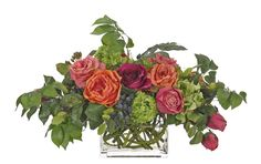 AVAILABLE FROM HOUSE OF VALUES -- Rose Hydrangea, Fuchsia Orange, Glass Rectangle, 25wx17dx15h OF346