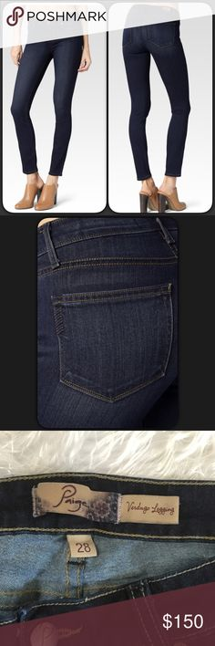 """Paige Verdugo Legging Skinny Jeans NWOT NWOT Paige """"Verdugo Legging"""" Skinny Jeans. Purchased these at Paige realized I bought the wrong ones, too late to return. My loss s your gain! These have been laundered, I always wash my jeans before wear. Paid $200.00. Dark wash denim. Rise 8"""" Inseam 29"""". Size 28. Paige Jeans Pants Skinny"""