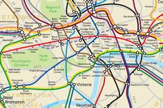 A map of the London Tube network shows the real distance between stations on routes across the capital. The map, produced by Transport for London following a Freedom of Information request, is a geographically accurate representation of how the various Tube lines criss-cross the city. It was made available last year after a request by James Burbage, but has recently resurfaced online.