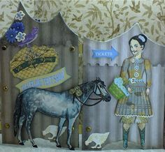 Blue Daisy Traveling Tent, Daisy the horse and friends, artist Heather Maxwell working with Character Constructions Stamps