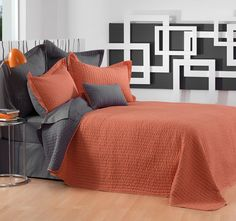 This Kimba Orange Bedspread Set by Bianca is a modern and vibrant design cleverly contrasted with a charcoal stitch pattern. Bed Design, House Design, European Pillows, Quilt Cover, Linen Bedding, Bed Linen, Bed Spreads, Comforter Sets, Bed Sheets